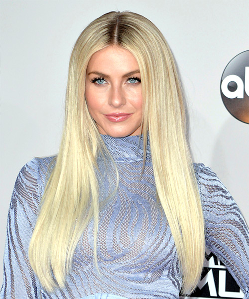 Julianne Hough Long Straight Light Platinum Blonde Hairstyle -  Cool tone eyes