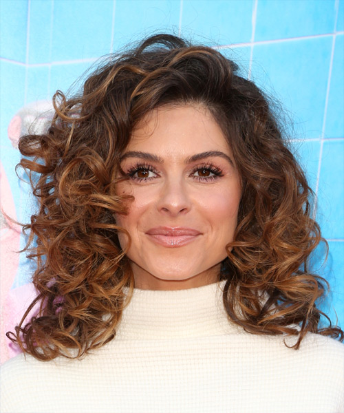 Maria Menounos Medium Curly Casual    Hairstyle   - Medium Brunette Hair Color