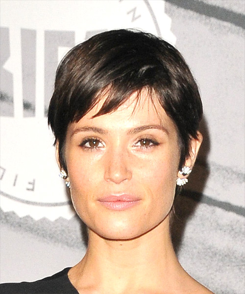 Gemma Arterton     Dark Brunette Pixie  Cut with Side Swept Bangs