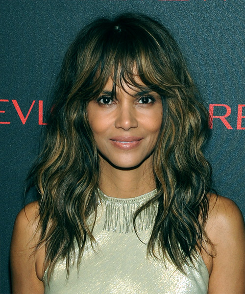 Halle Berry Long Wavy Casual    Hairstyle with Layered Bangs  - Medium Brunette Hair Color