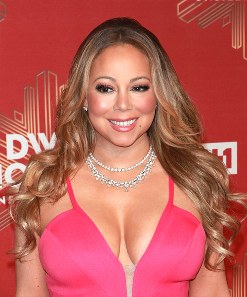 Mariah Carey Long Curly Casual    Hairstyle   - Light Brunette Hair Color