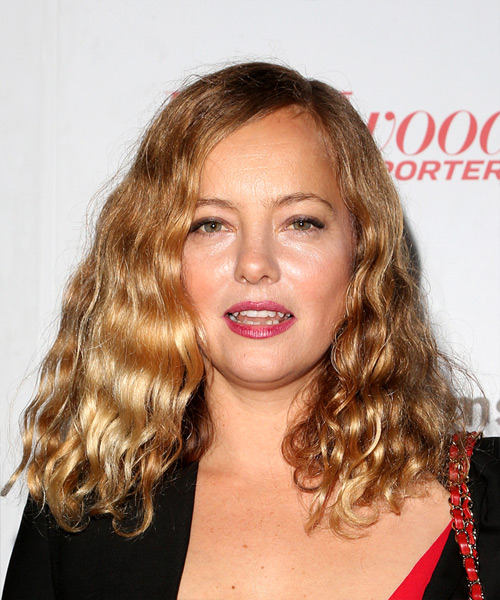 Bijou Phillips Medium Curly Casual  Bob  Hairstyle   - Dark Golden Blonde Hair Color