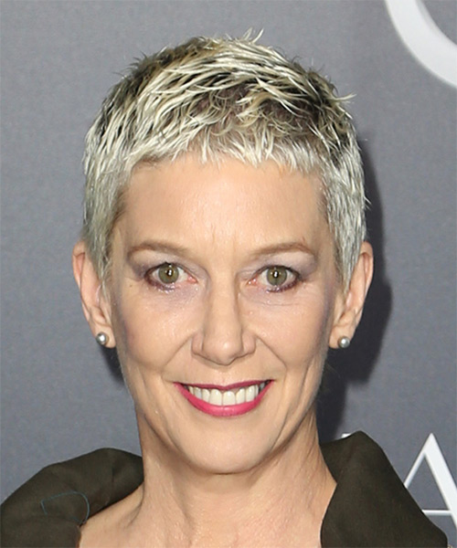 Patricia Ward Kelly Short Straight Casual  Pixie  Hairstyle with Layered Bangs  - Light Platinum Blonde Hair Color