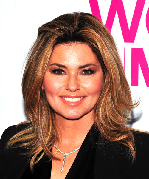 Shania Twain Medium Straight Casual    Hairstyle   - Light Brunette Hair Color
