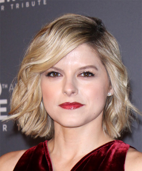 Kate Bolduan Short Wavy   Light Ash Blonde Bob  Haircut with Side Swept Bangs