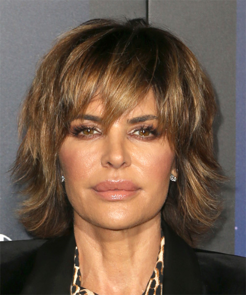 Lisa Rinna Medium Straight Casual Shag  Hairstyle with Layered Bangs  - Light Brunette