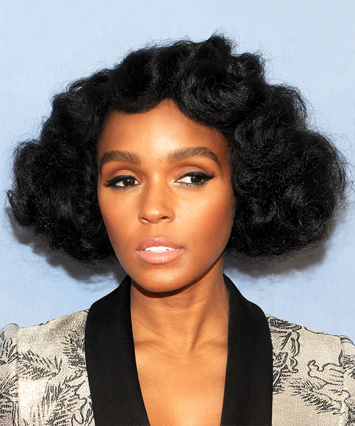 Janelle Monae Short Curly Casual  Bob  Hairstyle   - Black  Hair Color