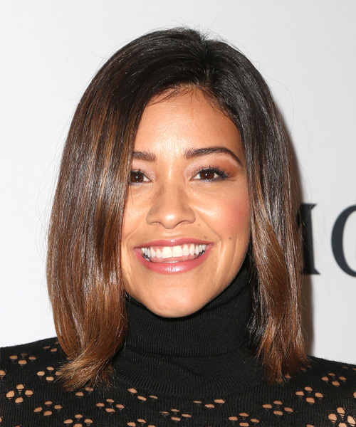 Gina Rodriguez Medium Straight Casual  Bob  Hairstyle   - Medium Brunette Hair Color