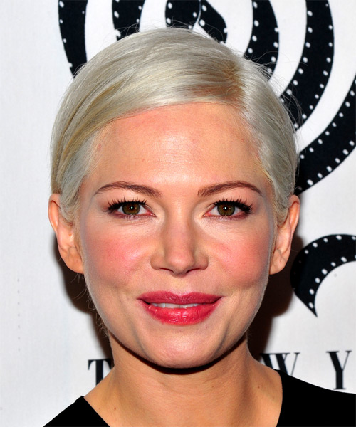 Michelle Williams Short Straight Formal  Pixie  Hairstyle   - Light Platinum Blonde Hair Color