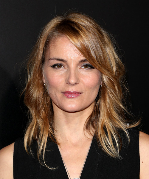 Susan Misner Chic Medium Wavy Casual    Hairstyle with Side Swept Bangs  - Light Brunette Hair Color