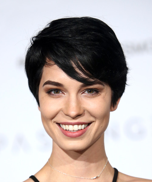 Pamela Horton Elegant Short Straight Casual  Pixie  Hairstyle with Side Swept Bangs  - Black  Hair Color