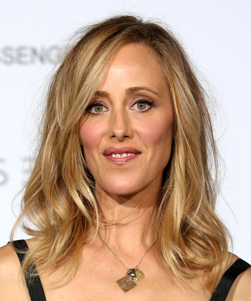 Kim Raver Voluminous Medium Straight Casual    Hairstyle with Side Swept Bangs  - Medium Blonde Hair Color