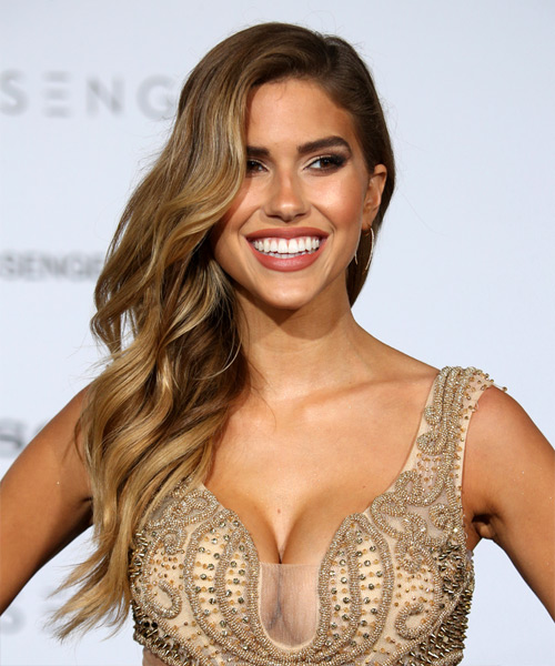 Kara Del Toro Windblown Long Wavy Formal   Hairstyle   - Medium Brunette