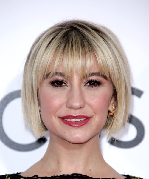 Chelsea Kane Classic Pageboy Short Straight Formal Bob  Hairstyle with Razor Cut Bangs  - Light Blonde