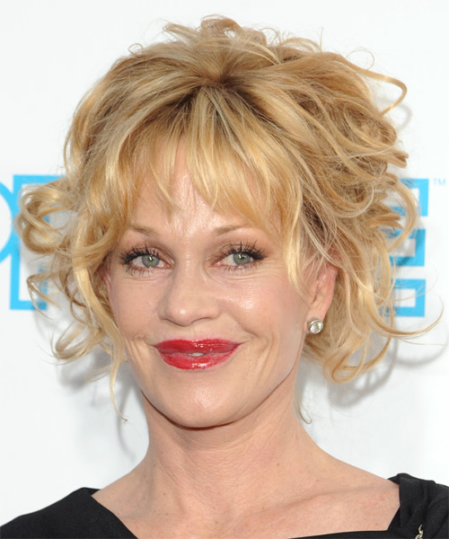 Melanie Griffith  Medium Curly Formal   Updo Hairstyle