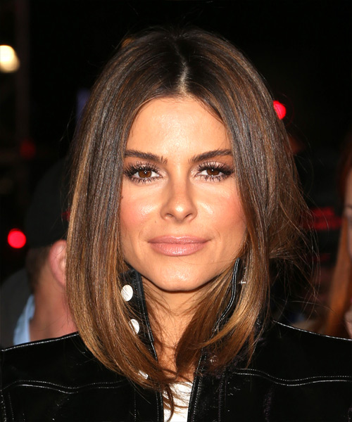 Maria Menounos Medium Straight Casual Bob  Hairstyle   - Medium Brunette