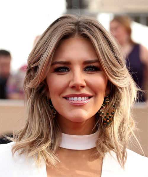 Charissa Thompson Medium Straight Casual  Bob  Hairstyle with Side Swept Bangs  - Light Blonde Hair Color