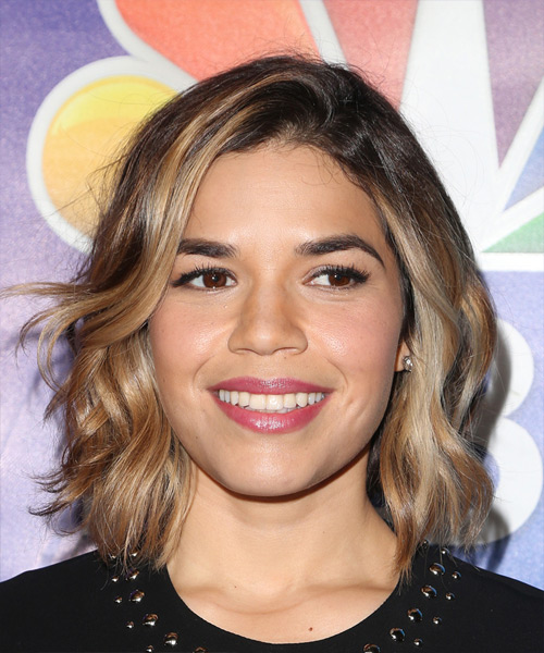 America Ferrera Cool Medium Wavy Casual Bob  Hairstyle   - Dark Brunette