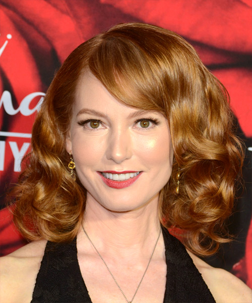 Alicia Witt Voluminous Medium Wavy Formal   Hairstyle with Side Swept Bangs  - Medium Red