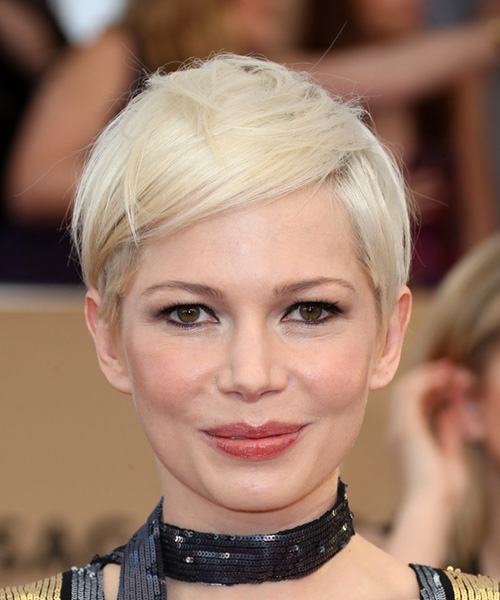 Michelle Williams Sleek Short Straight Casual Pixie  Hairstyle with Side Swept Bangs  - Light Blonde (Platinum)