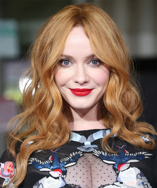 Christina Hendricks Long Wavy Casual    Hairstyle   - Light Red Hair Color