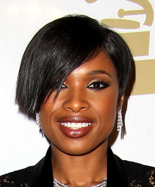 Jennifer Hudson Short Straight   Black  Bob  Haircut with Side Swept Bangs