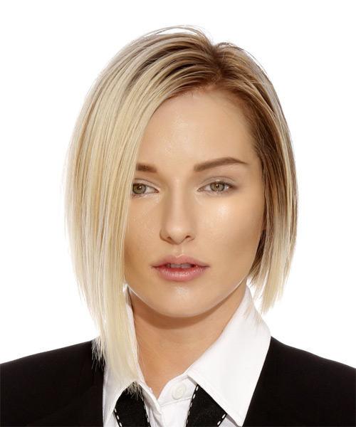 Short Straight Formal Bob  Hairstyle   - Light Blonde
