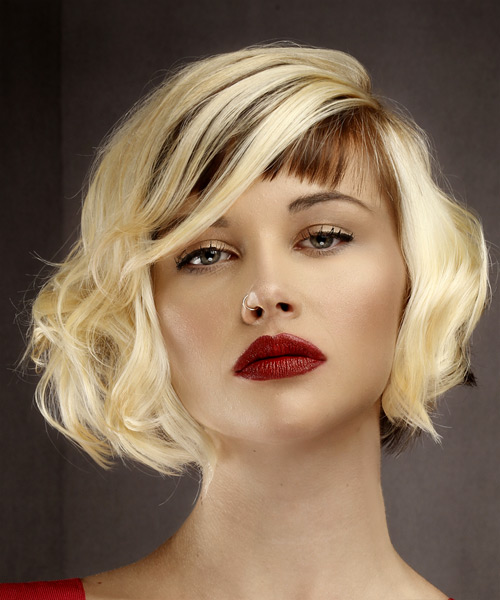 Short Wavy   Light Blonde and  Brunette Two-Tone Bob  Haircut with Asymmetrical Bangs