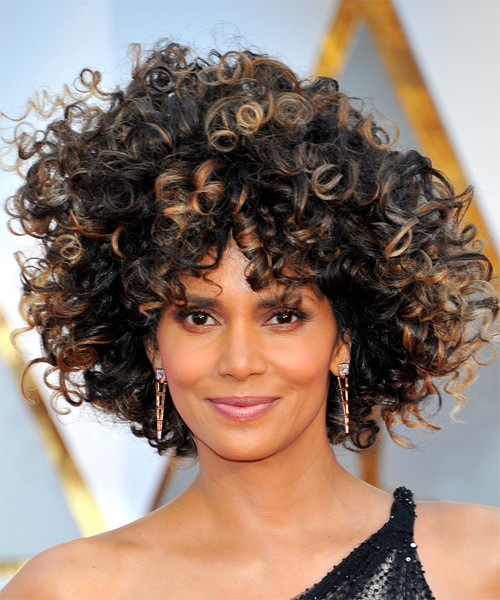 Halle Berry Medium Curly   Black  Afro  Hairstyle with Layered Bangs  and Dark Blonde Highlights