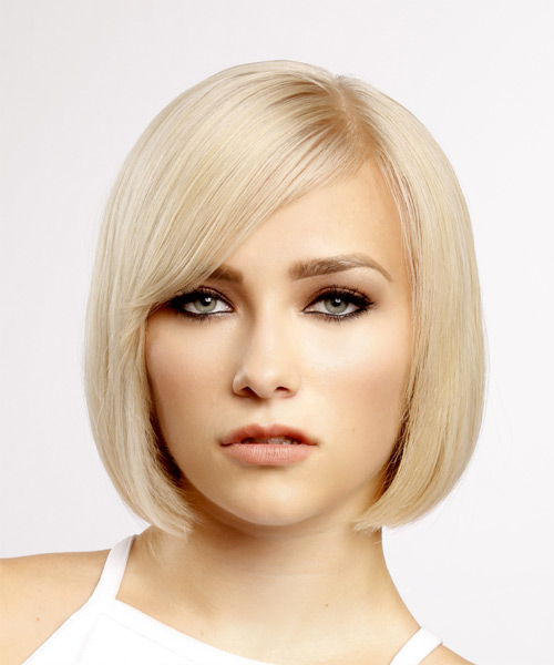 Short Straight Light Blonde Bob Haircut with Side Swept Bangs with Thin Hair Density