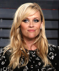 Reese Witherspoon Long Wavy Formal    Hairstyle with Side Swept Bangs  - Light Blonde Hair Color