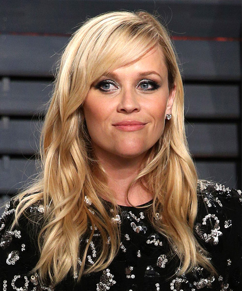 Reese Witherspoon Long Wavy Formal   Hairstyle with Side Swept Bangs  - Light Blonde