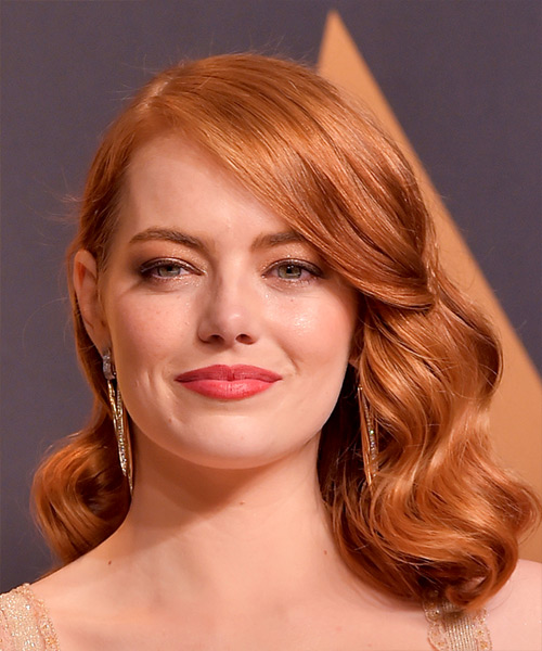 Emma Stone Vintage Medium Wavy Formal Bob  Hairstyle   - Medium Red (Copper)