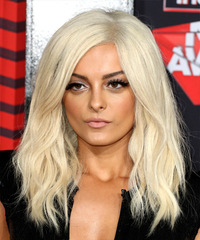 Bebe Rexha Long Wavy   Light Blonde   Hairstyle