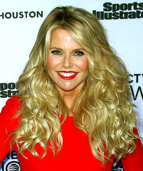 Christie Brinkley Long Curly Casual   Hairstyle with Side Swept Bangs  - Light Blonde