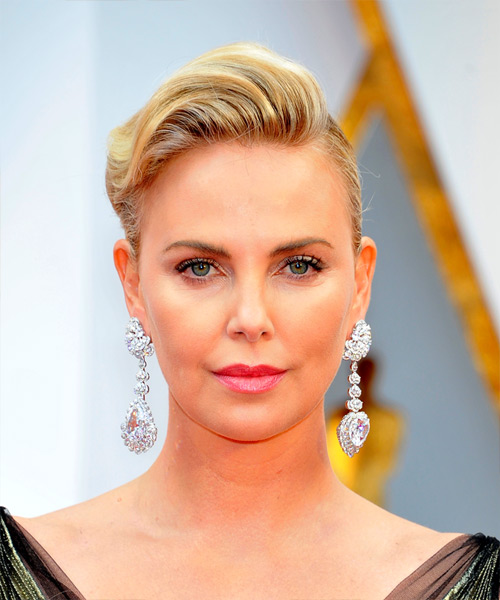 Charlize Theron Medium Wavy Formal Wedding Updo Hairstyle   - Light Blonde (Golden)