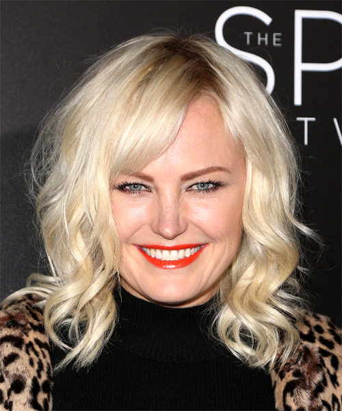 Malin Akerman Medium Wavy Casual  Bob  Hairstyle with Side Swept Bangs  - Light Blonde Hair Color