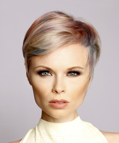 Straight Light Blonde Pixie Hairstyle with Side Swept Bangs