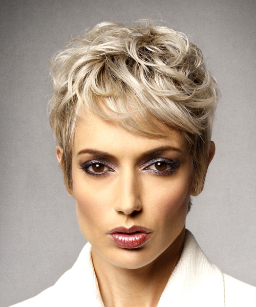 Short Wavy Formal Shag  Hairstyle with Side Swept Bangs  - Light Blonde (Ash)