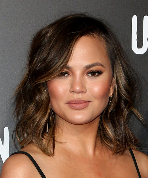 Christine Teigen Medium Wavy Casual  Bob  Hairstyle with Side Swept Bangs  - Dark Brunette Hair Color