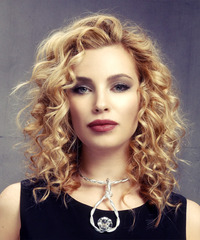 Medium Curly Formal    Hairstyle   -  Golden Blonde Hair Color