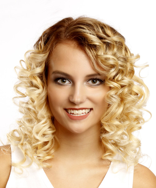 Medium Curly Casual  Bob  Hairstyle   - Light Blonde Hair Color