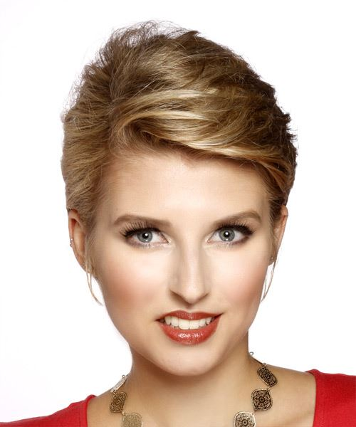 Short Straight Casual    Hairstyle   - Dark Blonde Hair Color with Light Red Highlights