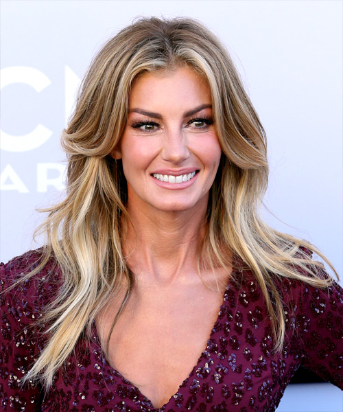 Faith Hill Long Straight Casual   Hairstyle   - Medium Blonde