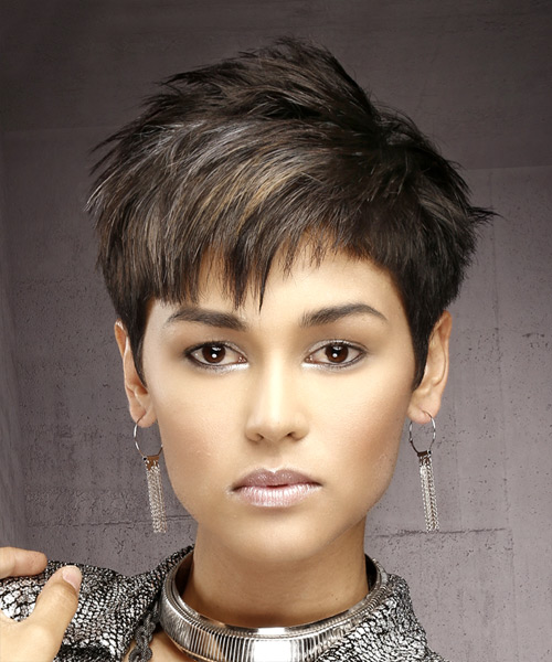 Short Straight Formal Pixie Hairstyle With Asymmetrical Bangs   Dark  Brunette Hair Color