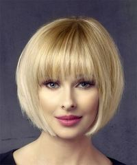 Short Straight Formal  Bob  Hairstyle with Layered Bangs  - Light Honey Blonde Hair Color