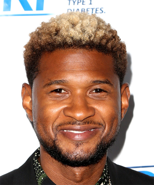 Usher Casual Short Curly Hairstyle Platinum Brunette