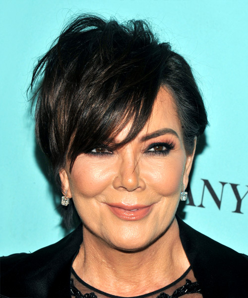 Kris Jenner Short Straight Casual Shag  Hairstyle with Layered Bangs  - Black