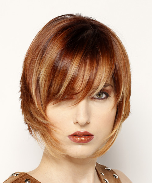 Straight layered bob hairstyle with copper and blonde highlights