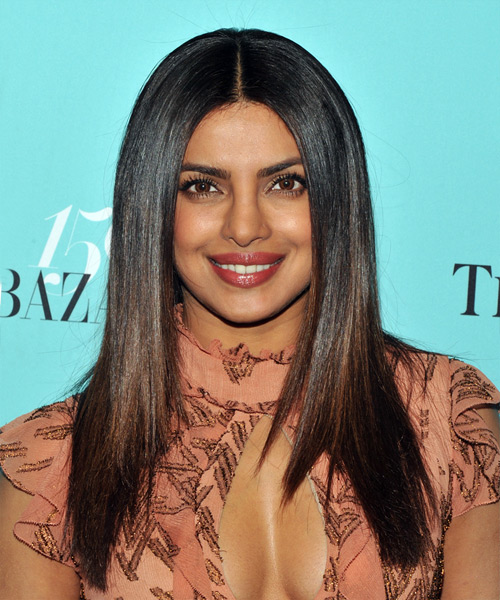 Priyanka Chopra Long Straight   Black    Hairstyle   with Dark Brunette Highlights